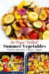 """air fried """"grilled"""" summer vegetables on the plate and in the air fryer"""