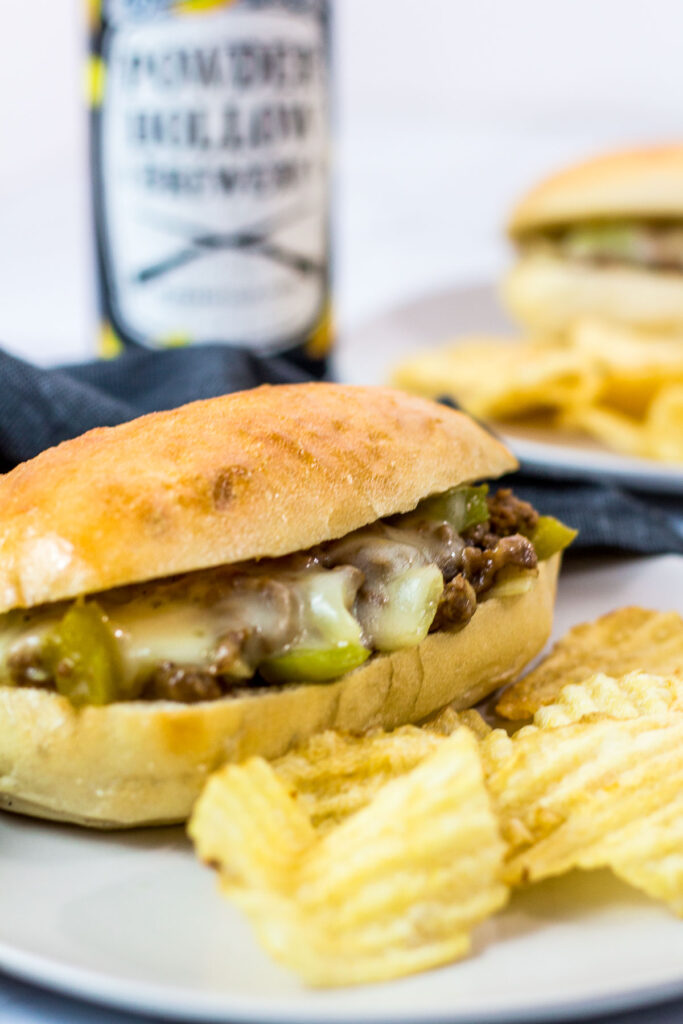 close up photo of vegetarian philly cheesesteak sloppy joes