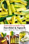 sauteed zucchini and yellow squash on top and how to cut and salt them on the bottom.
