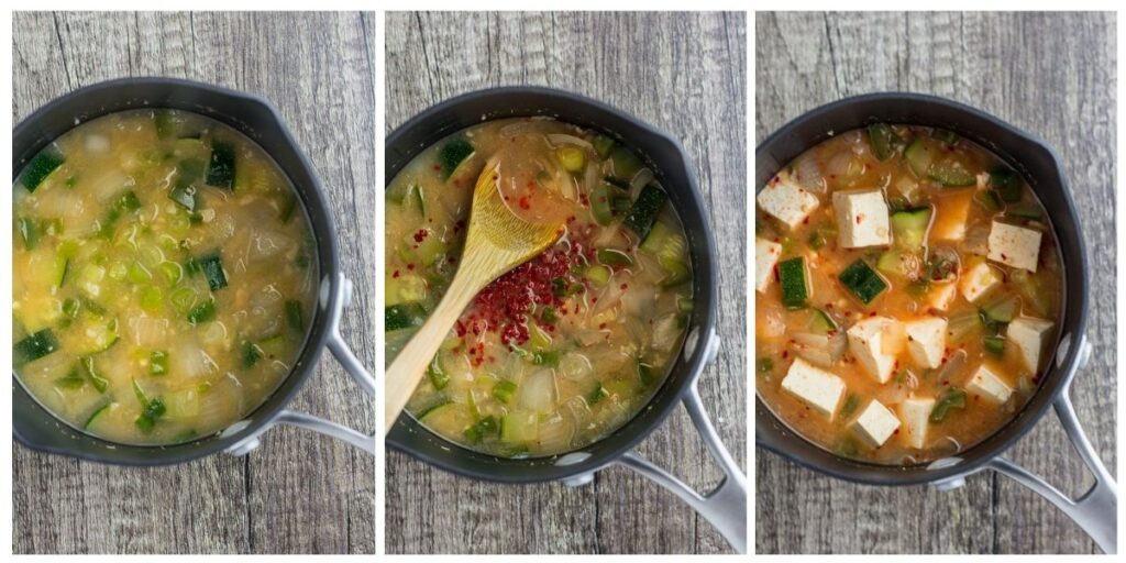 three photos of making the stew - soup base, with gochugaru, and with tofu.