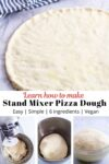 pizza dough photo on top and process photos on the bottom.