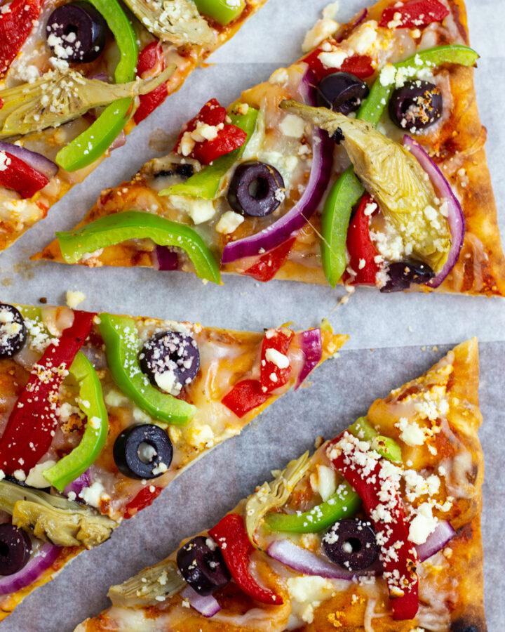 close up photo of Mediterranean pizza.