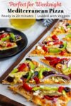 Cut Mediterranean pizza with beer on the side.