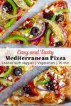 close up photo of loaded veggie Mediterranean pizza.