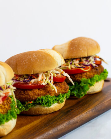 vegan chicken sandwiches with pepper jelly coleslaw
