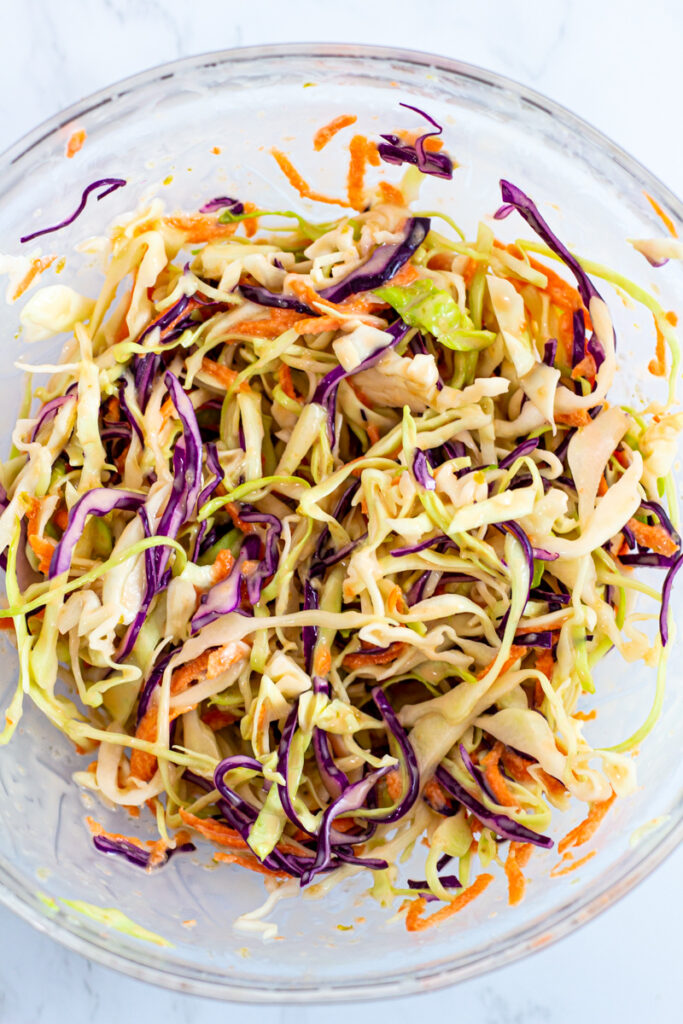 pepper jelly coleslaw in a bowl.