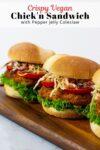 three crispy vegan chick'n sandwiches.