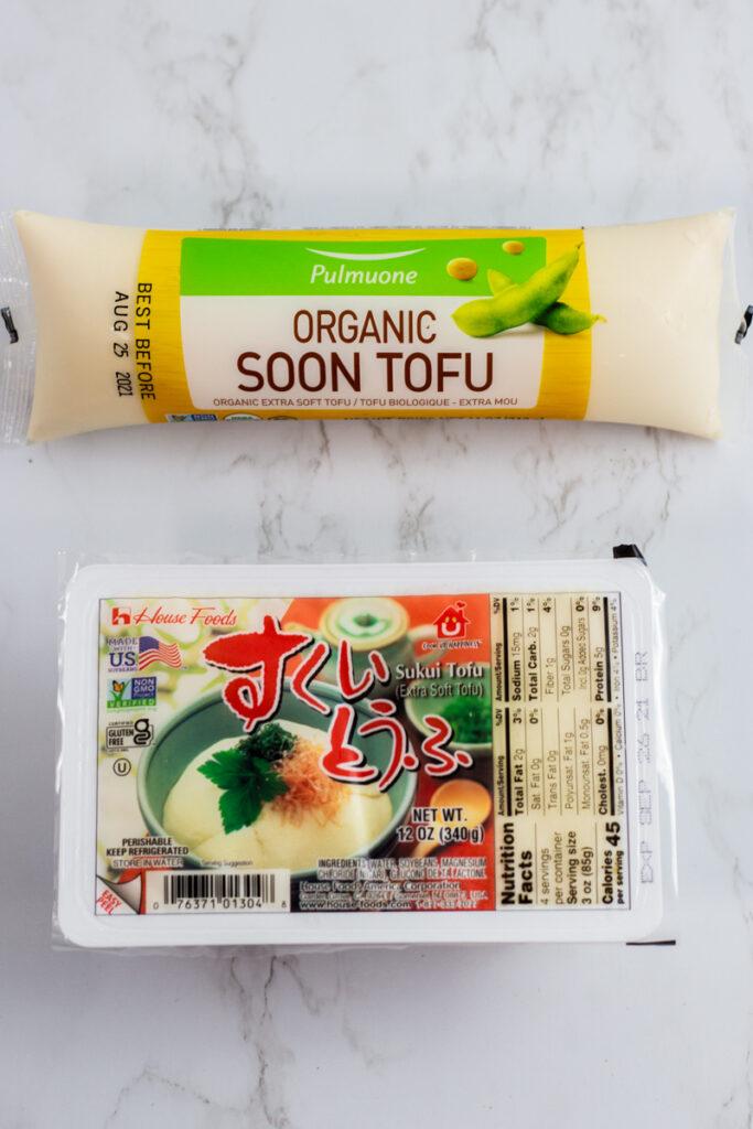 Korean soft silken tofu on top and Japanese silken tofu on the bottom.